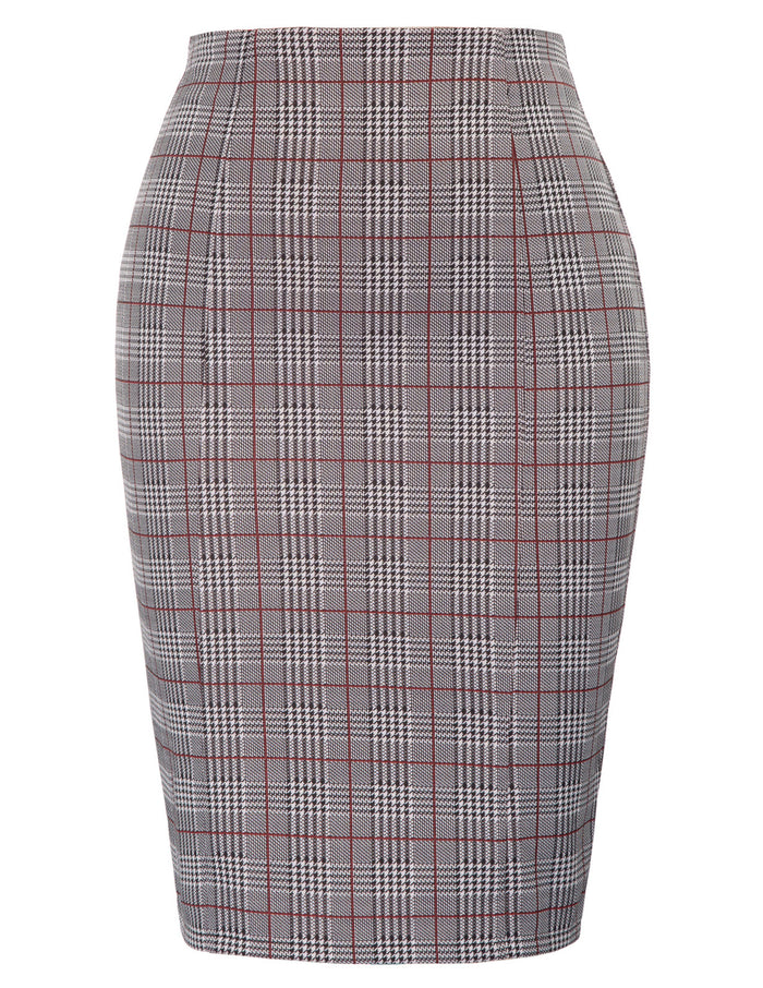 Kate Kasin Womens Office Lady Gird Pattern Hips-Wrapped Bodycon Pencil Skirt