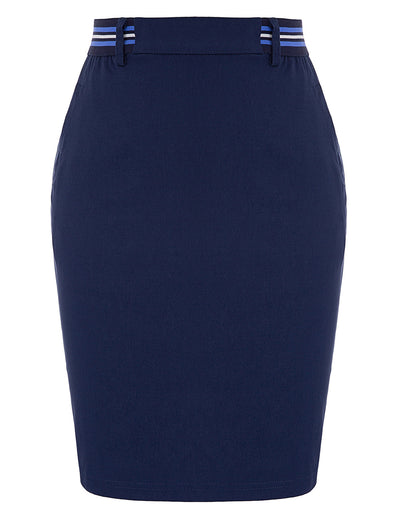 KK Women's Elastic Waist Hips-wrapped Bodycon Pencil Skirt With Pockets