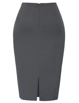 Black/Dark Gray Women's Shirred Detail High Stretchy Hips-Wrapped Bodycon Split Back Pencil Skirt