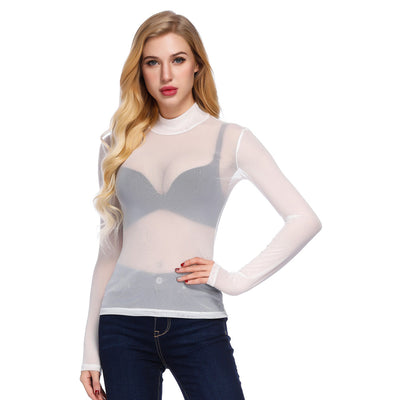Women See-Through Mesh Sheer Long Sleeve Turtleneck T-Shirt Tops Blouse Clubwear