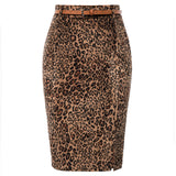 Kate Kasin Women's Leopard Pattern Pencil Skirt Belt Decorated Hips-Wrapped Bodycon
