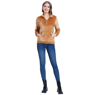 Kate Kasin Women Flannel Fleece Coat Warm Long Sleeve Lapel Collar Zip-Up Neck Pullover