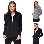 Womens Long Sleeve Stand Collar Zipper Coat Tops Sports Outwear Trench Overcoat