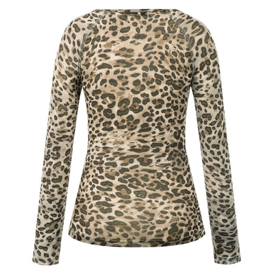 Kate Kasin Women's Leopard Pattern Mesh T-Shirt Tops Long Raglan Sleeves Scoop Neck