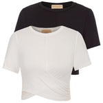 Sexy Women's Basic Short Sleeve Crew Neck Cropped Length Twisted Tops For Women