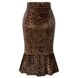 Kate Kasin Women's Skirt Leopard Pattern Hips-Wrapped Bodycon Pencil  With Mermaid Hem