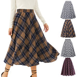 Kate kasin Women's Vintage Grid Pattern Plaid A-line Skirt High Waist Pull-on