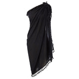 Women Tassel Decorated Cotton Sarong Wrap Shawl Beach Swimsuit Cover up