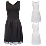 Women Full Slip Ladies Sleeveless Lace Hem Under Dress Petticoat Sexy Underskirt