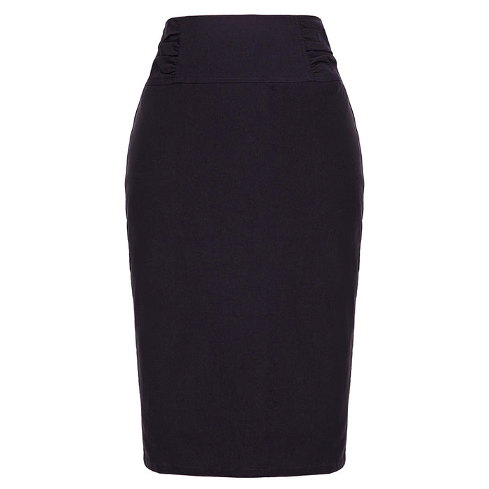 Kate Kasin High Stretchy High Waist Shirred Waist Detail Hips-Wrapped Pencil Skirt