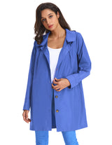 Kate Kasin Fashion Womens Loose Long Sleeve Jacket Windbreaker Waterproof Rain Hooded Coat