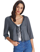 Ladies Women 3/4 Sleeve Knitted Shrug Bolero Tops Cropped Shirt Cardigan Sweater
