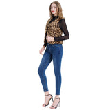 Kate Kasin Women's Leopard Pattern Padded Fleece Vest Coat  Warm Sleeveless V-Neck