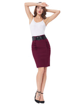 Kate Kasin Women's Shirred Detail High Stretchy Pencil Skirt with Wide Belt