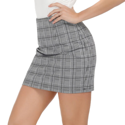 Sexy Women's Plaid Pattern Elastic Waist Hips-Wrapped Bodycon Pencil Skirt
