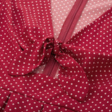 Kate Kasin Women Hollowed Front Tie Details Dress Long Sleeve V-Neck Polka Dots Pleated