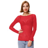 Kate Kasin Fashion Sexy Women's Long Sleeve Scoop Neck See-through T-shirt Tops