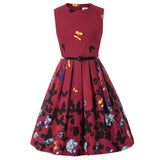 Kate Kasin Children Kids Girls Cotton Dress+Belt Vintage Retro Sleeveless Crew Neck