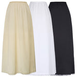 Womens Satin Fabric Long Maxi Skirt Petticoat Underskirt Lady Full Slip S M L Xl
