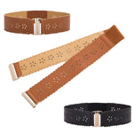 Womens Wide Waist Belt Vintage Hollowed Flower Elastic Stretch Buckle Waistband