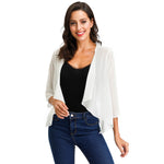 Women Summer Chiffon Cover-up Lightweight 3/4 Sleeve Open Front Irregular Hem