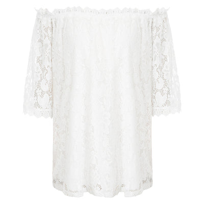 Kate Kasin Women's Lace Tops Off Shoulder 3/4 Sleeve Loose Fit Sexy Casual Curved Hem