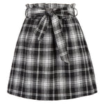 Kate Kasin Women Casual Elastic Waist Belt Decorated Plaided A-Line Skirt With Pockets