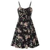 Kate Kasin Women's Cami Dress Floral Pattern Bow-Knot Decorated Flared A-Line Sexy