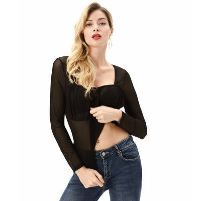 Kate Kasin Women's See-Through Mesh Tops Long Sleeve Square Neck Slim Fit Sexy Stretchy