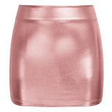 Women's Shiny Metallic Bodycon Bandage Pencil Party Clubwear Mini Dress Skirt