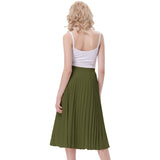 Kate Kasin Women's Stylish Fashion High Waist Pleated Swing A-Line Skirt