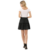 Kate Kasin Women's Mini Skater Skirt With Drawstring Elastic Waist Flared A-Line
