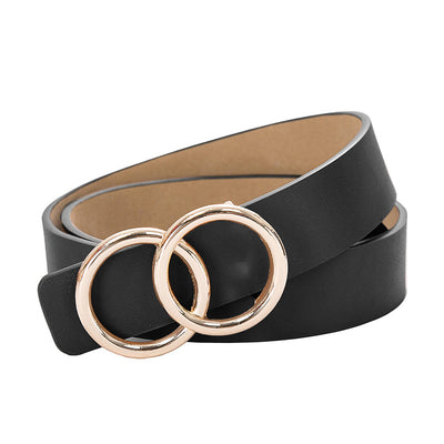 Kate Kasin Women's Double-Ring Buckle Waist Belt For Jeans 3cm Polyurethane Leather