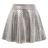Kate Kasin Women Solid Color Imitated Leather Shiny Metallic-Like Skater Skirt