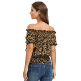 Kate Kasin Women's Leopard Pattern Rayon Tops Off Shoulder Short Sleeve Loose Fit