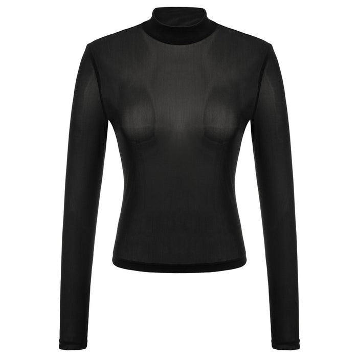 Kate Kasin Sexy Women's Mock Neck Cropped Tops Long Sleeve   See-Through Mesh