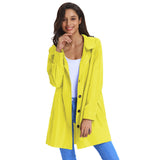 KK Women's Outdoor Sport Long Sleeve Lapel Collar Hooded Rain Coat