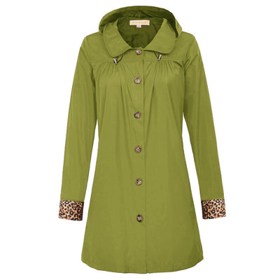 Kate Kasin Women's Rain Coat Lightweight Hooded Long Sleeve Lapel Collar Outdoor Sports