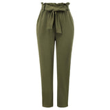 Kate Kasin Women's Striped Sides Skinny Pants Ruffled Elastic Waist Belt Decorated