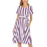 Women's Striped Dress Short Sleeve Crew Neck Belt Decorated A-Line Summer