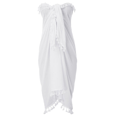 Kate Kasin Women Tassel Decorated Cotton Sarong Wrap Shawl Beach Swimsuit Cover up