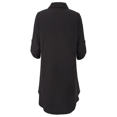 Kate Kasin Women's Side Split Shirt Dress 3/4 Sleeve Lapel Collar V-Neck High-Low Hem