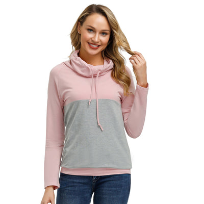 Kate Kasin Women's Draped Neck Tops Sweatshirt Long Sleeve Contrast Color Pullover