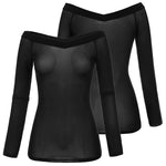 Women Lady Off Shoulder Long Sleeve T-Shirt Mesh Sheer Stretch Slim Tops Blouse