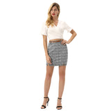 KateKasin Women's Plaided Mini Skirt Belt Decorated Hips-Wrapped Front Split Stretchy