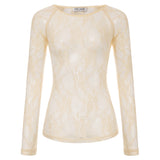 Kate Kasin Sexy Women's Long Raglan Sleeves Scoop Neck See-Through Mesh T-Shirt Tops