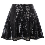 Kate Kasin Women's Sequined Mini Skirt High Waist Flared A-Line Sparkling Sequins