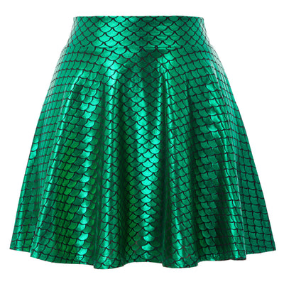 Women Retro Solid Color Leather Shiny Metallic Skater Mini Skirt Flared Pleated