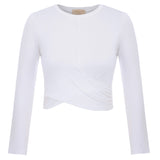 Clearance Sale Womens Basic Short Sleeve Crew Neck Cropped Length Twisted Tops