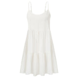 Kate Kasin Women's Backless Mini Cami Dress Spaghetti Straps Bow-Knot Decorated A-Line